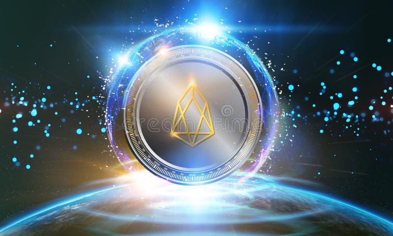 Crypto-munt, EOS-het virtuele geld van muntstukinternet Het Commerci?le van de munttechnologie Concept van Internet stock fotografie
