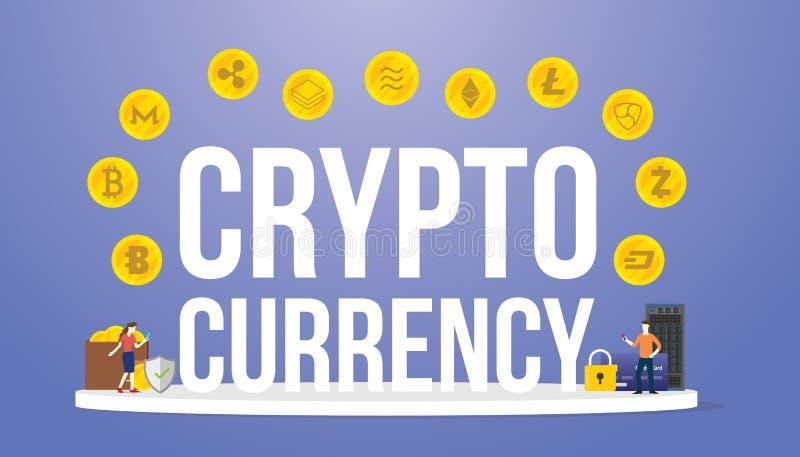 Crypto munt grote woorden met diverse opties van cryptocurrencygeld met geld en moderne vlakke stijl - vector stock illustratie