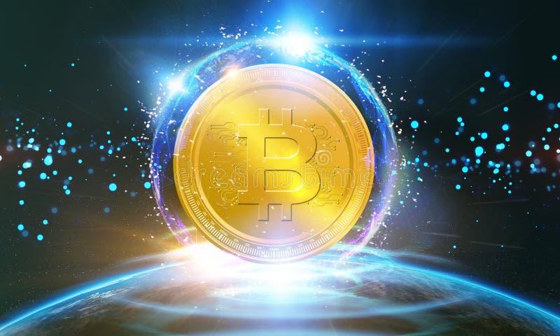 Crypto-munt, het virtuele geld van Bitcoin Internet De Zaken Internet Concep van de munttechnologie royalty-vrije stock afbeeldingen