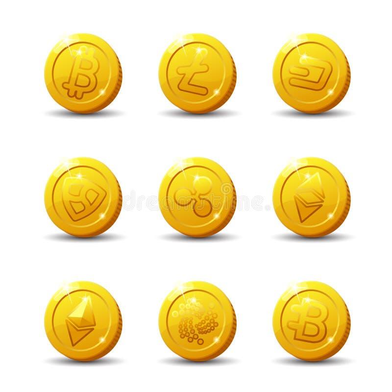 Crypto-munt Pictogrammen op witte achtergrond worden geïsoleerd die stock illustratie