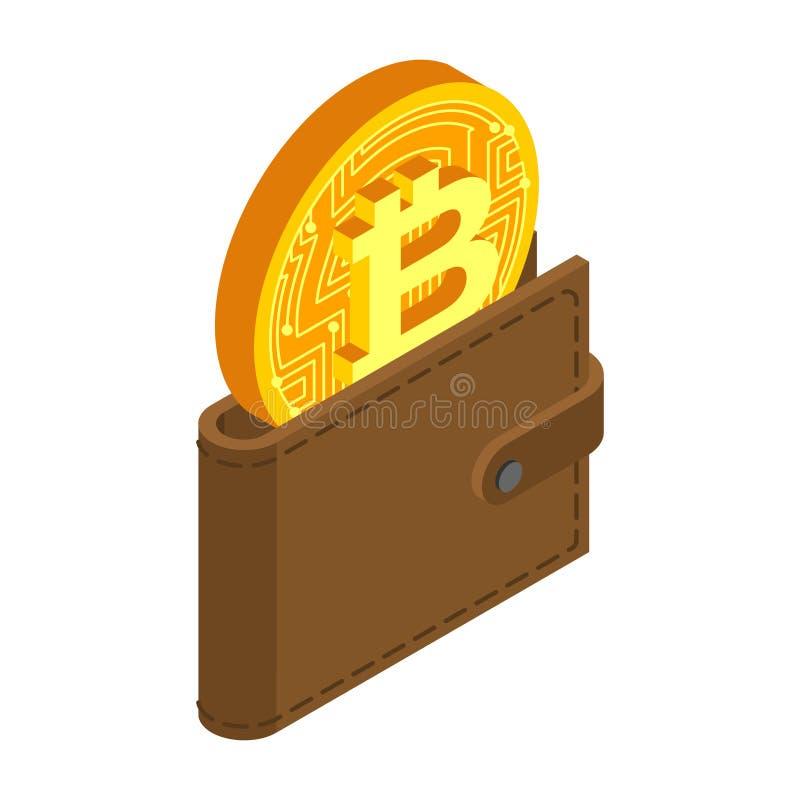 Crypto muntbeurs bitcoin in zak Virtueel Geld Vector vector illustratie