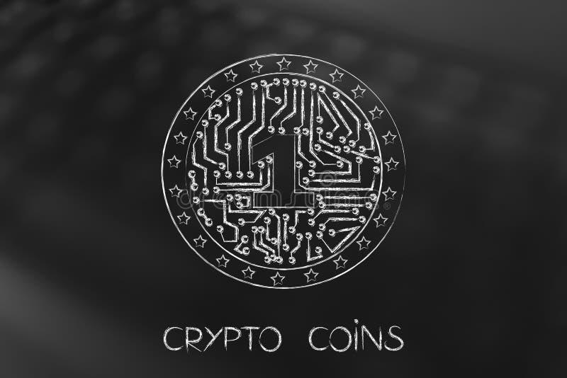 Crypto muntstuk met elektronische binnen kringen vector illustratie
