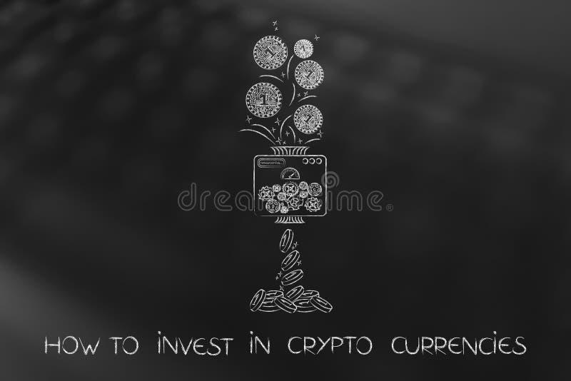 Crypto muntstuk met elektronische die kringen in normaal geld worden verwerkt vector illustratie