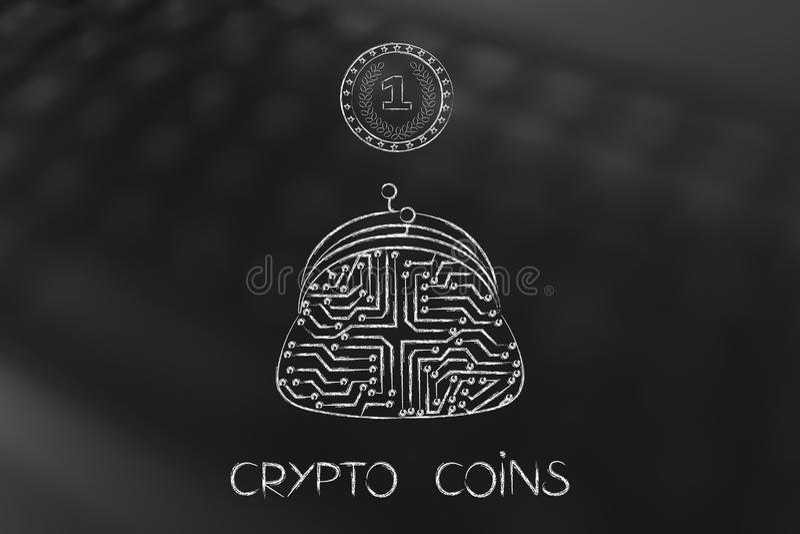 Crypto muntstuk met elektronische kringen binnen en microchipbeurs royalty-vrije illustratie