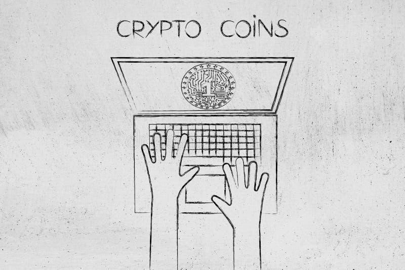 Crypto muntstuk met elektronische kringen binnen het laptop ` s scherm vector illustratie