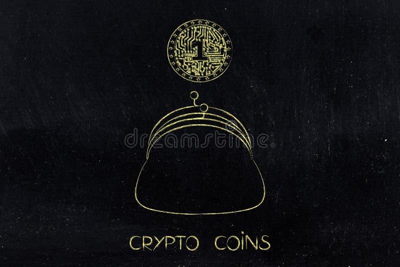 Crypto muntstuk met elektronische kringen binnen het vallen in beurs royalty-vrije illustratie