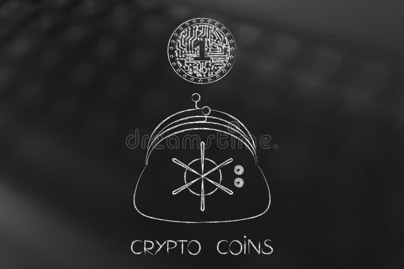 Crypto muntstuk met elektronische kringen binnen het vallen in beurs w royalty-vrije illustratie
