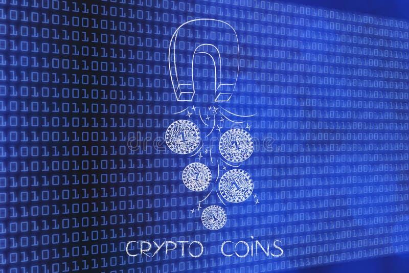 Crypto muntstuk met elektronische kringen die door een magneet worden verzameld royalty-vrije illustratie