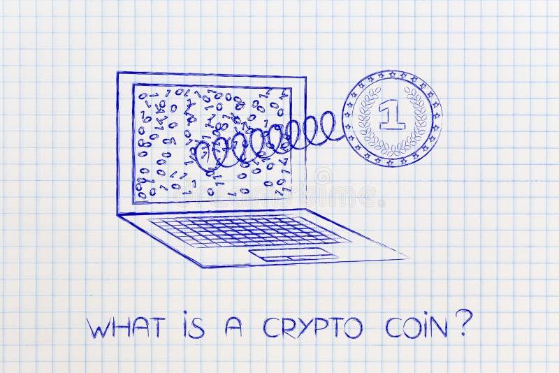 Crypto muntstuk met elektronische kringen die laptop naar voren komen scre stock illustratie