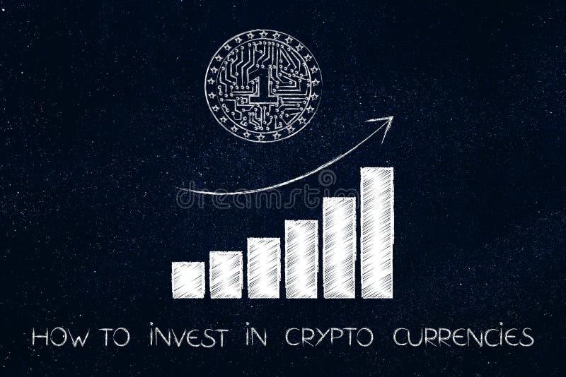 Crypto muntstuk met elektronische kringen en positieve de groeigrafiek stock illustratie