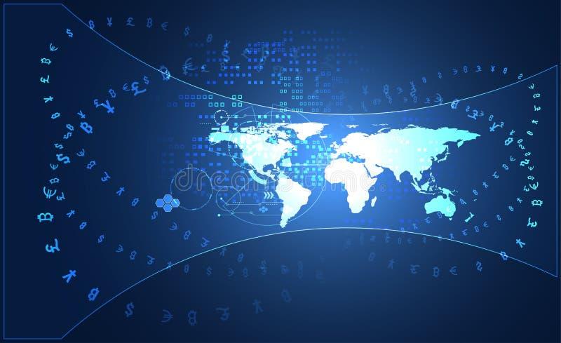 Crypto numérique global de grande technologie de transmission de données abstraite illustration de vecteur