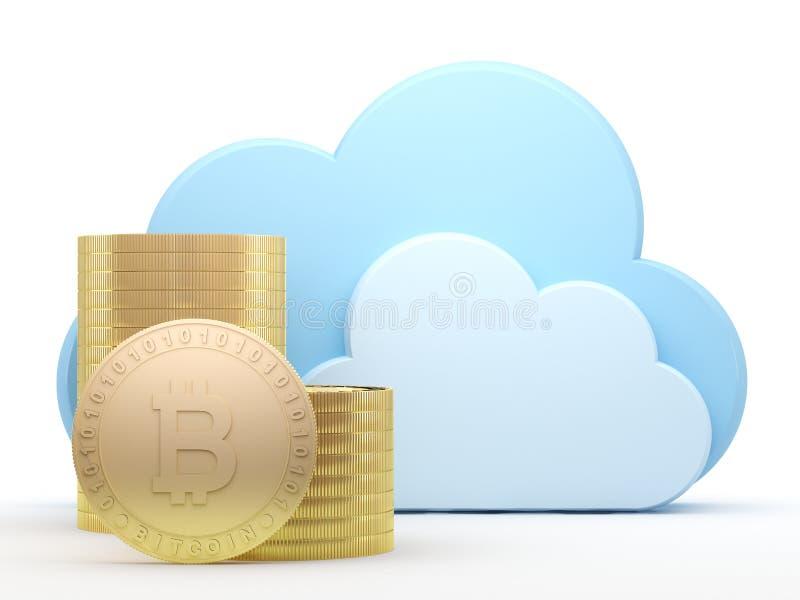 Crypto pengarbitcoins och molnberäkning stock illustrationer