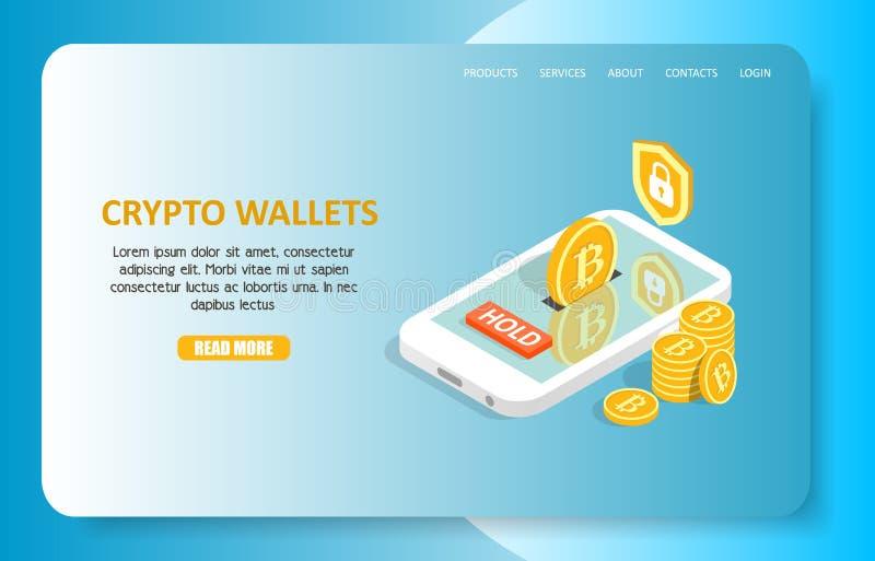 Crypto portefeuilles die het vectormalplaatje van de paginawebsite landen stock illustratie