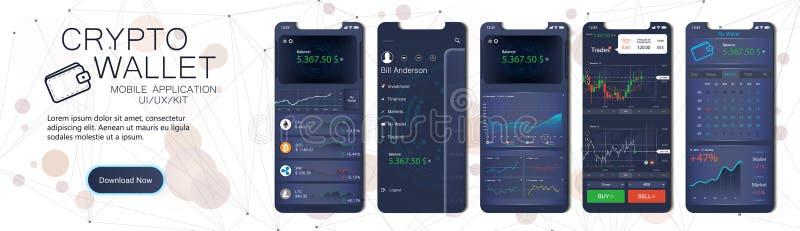 Crypto portfla app mobilny szablon royalty ilustracja