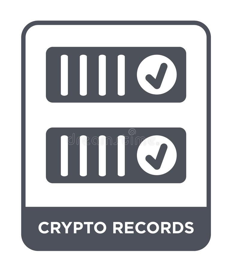 crypto records icon in trendy design style. crypto records icon isolated on white background. crypto records vector icon simple stock illustration