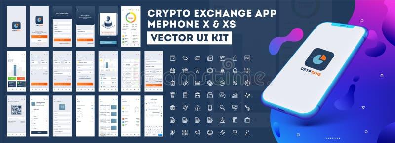 Crypto sats för App UI för svars- mobil app eller website med olik GUI royaltyfri illustrationer