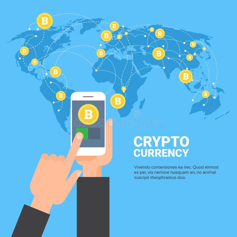 Crypto Smart för innehav för valutabegreppshand telefon över guld- Bitcoins på för Digital för världskarta modern tillväxt pengar royaltyfri illustrationer