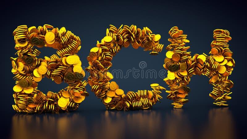 Crypto symbol för valutabitcoinkassa royaltyfri illustrationer