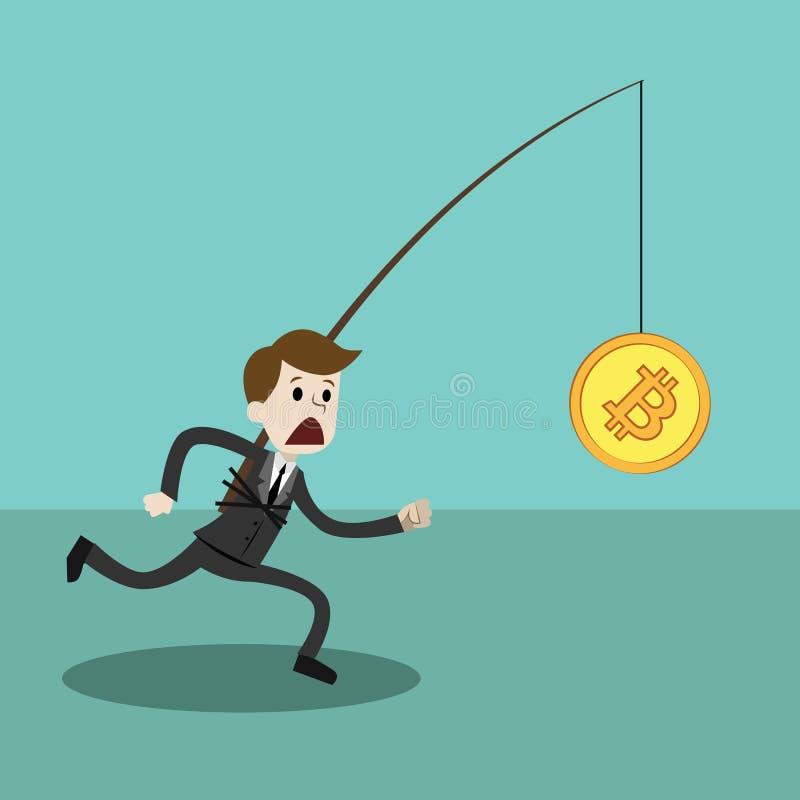 Crypto-valuta marknad Affärsman- eller chefspring för Bitcoin stock illustrationer