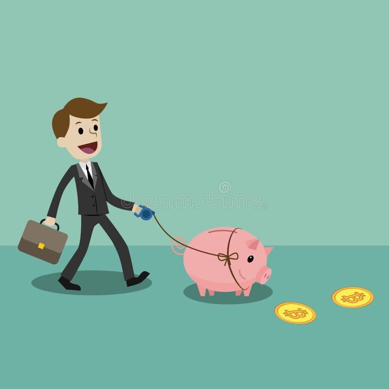 Crypto-valuta marknad Finans- och förhållandebegrepp Affärsmannen är walkin med en svinbank och att söka efter stock illustrationer