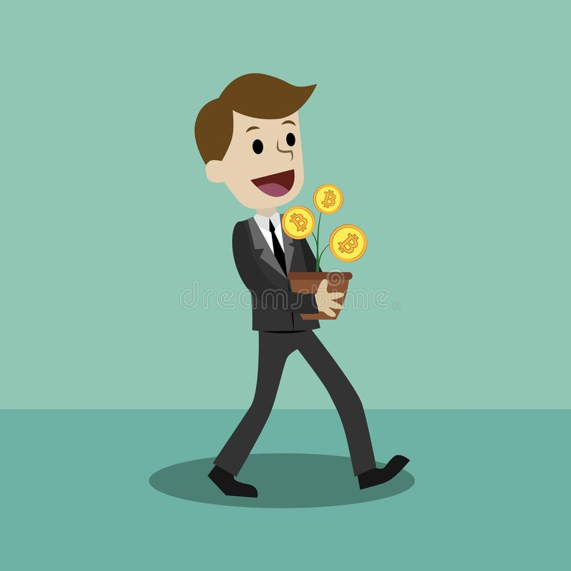 Crypto-valuta marknad Lycklig affärsman- eller chefhåll Bitcoin Affärsmannen har en vinst vektor illustrationer