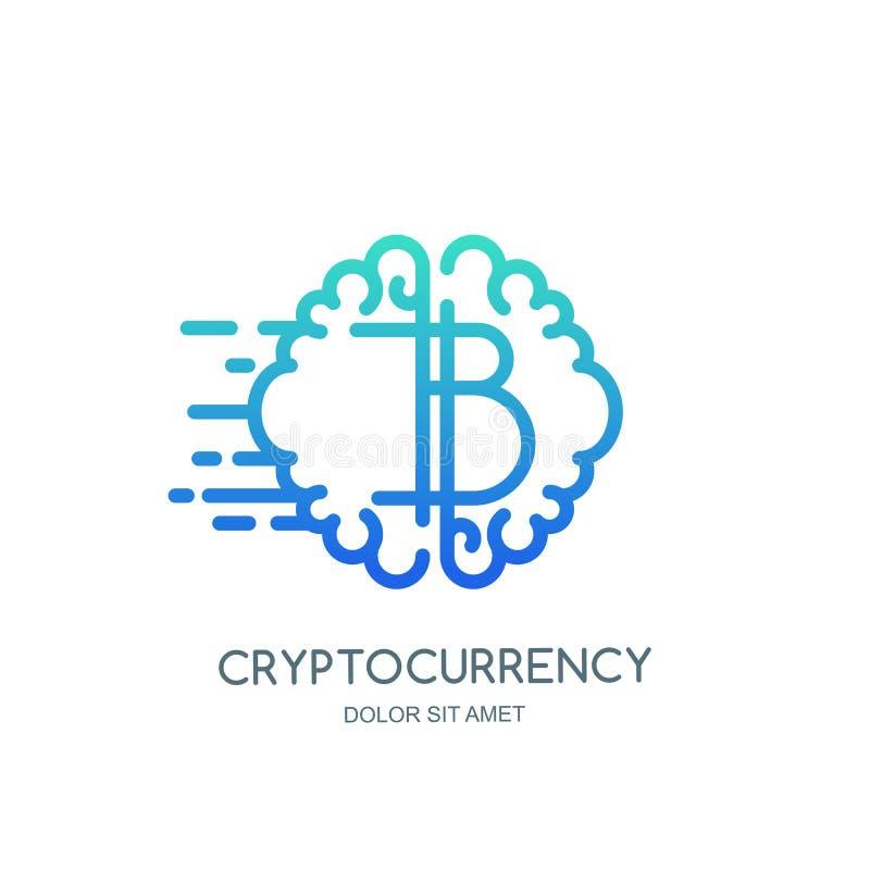 Crypto valuta- och bitcointeknologi, vektorlogo, symbol Hjärn- och bitcoinsymbol Begrepp för cryptocurrencyutbyte stock illustrationer