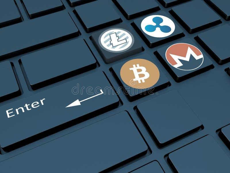 Crypto valuta Tangentbord med symboler Bryta av crypto-currenc stock illustrationer