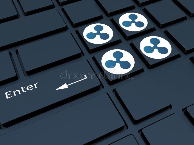Crypto valuta Tangentbord med symboler Bryta av crypto-currenc vektor illustrationer
