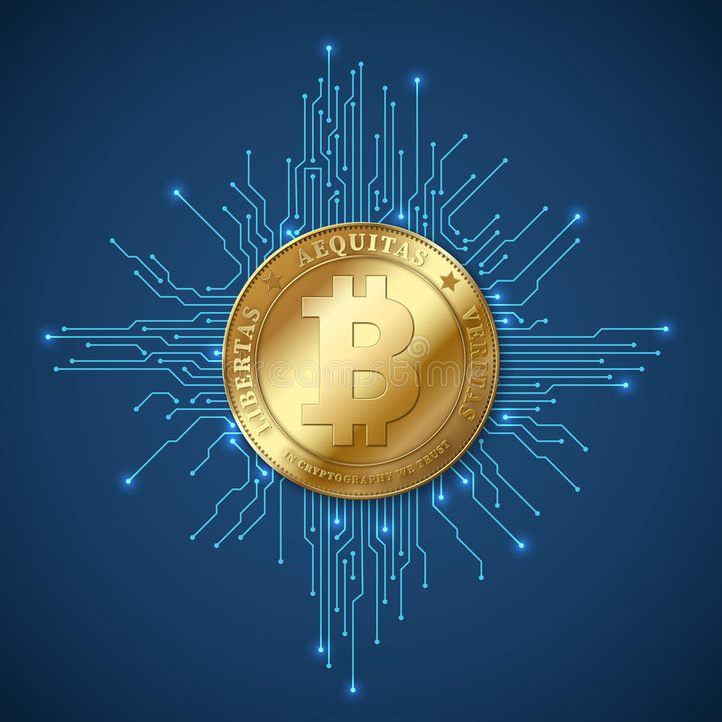 Crypto valutabitcoin Netto bankrörelsen och bitcoins som bryter vektorbegrepp stock illustrationer
