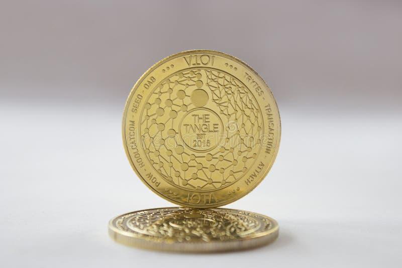 Crypto valutamyntjota på vit bakgrund royaltyfri foto