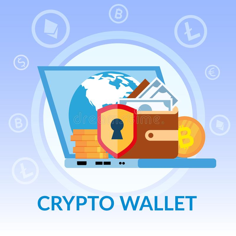 Crypto Wallet Bitcoin Dollar Online Bank Banner vector illustration