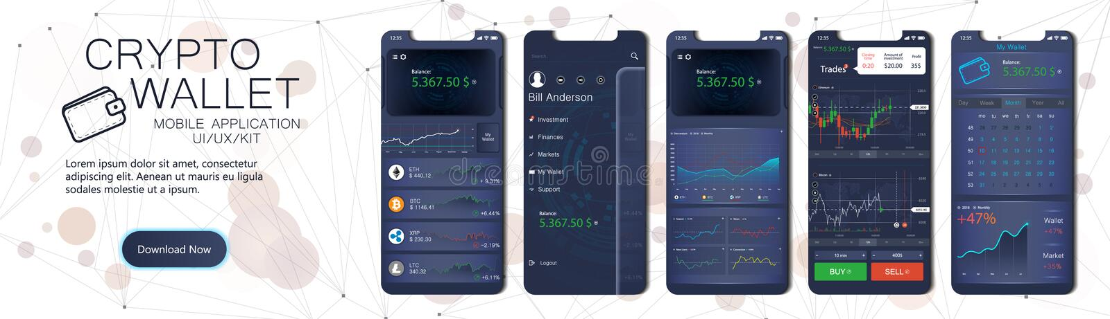 Crypto wallet mobile app template royalty free illustration