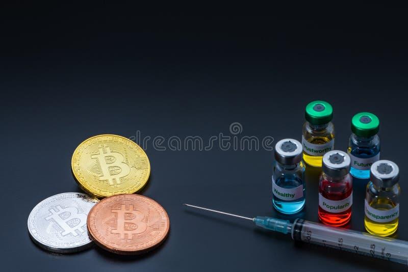 Crypto waluta z pięć atrybutami robi zdrowego ekonomicznego społeczeństwa obraz royalty free
