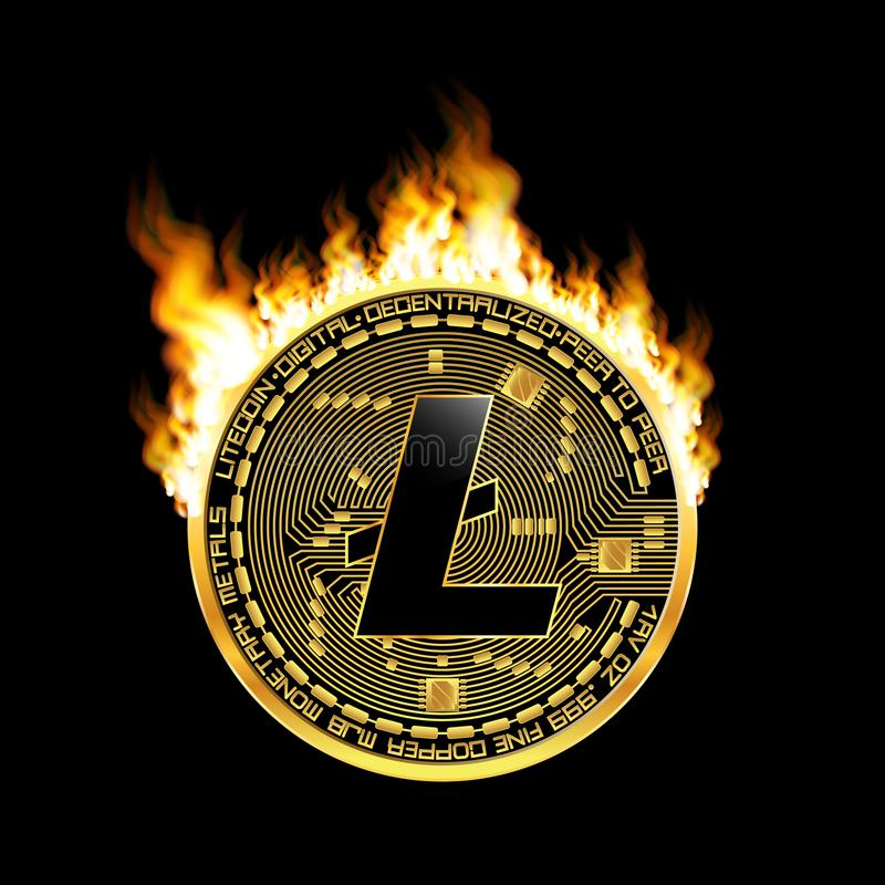 Crypto waluty litecoin złoty symbol na ogieniu ilustracja wektor