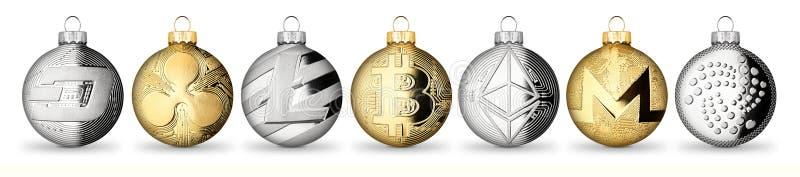 Crypto waluty monety bożych narodzeń xmas balowego bauble ustalona kolekcja g obrazy stock