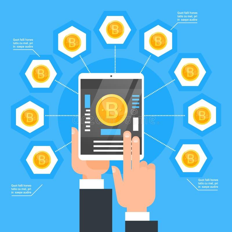 Crypto waluty technologii Bitcoin wymiany pojęcia ręka Trzyma Cyfrowej pastylki zakupu sieci pieniądze kawałka Nowożytne monety royalty ilustracja