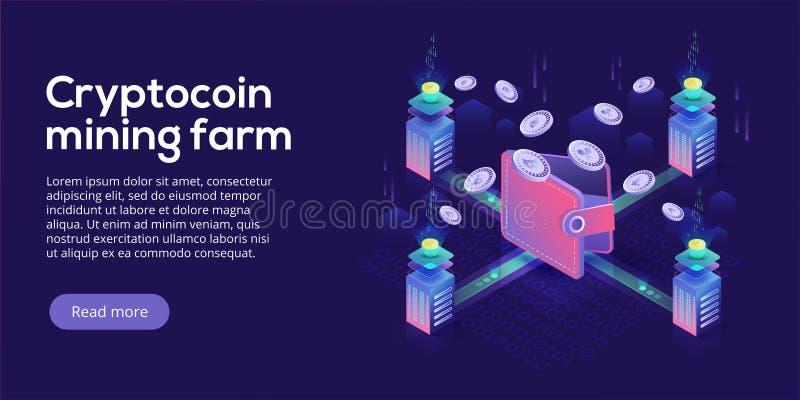 Cryptocoin mining farm layout. Cryptocurrency and blockchain net stock illustration