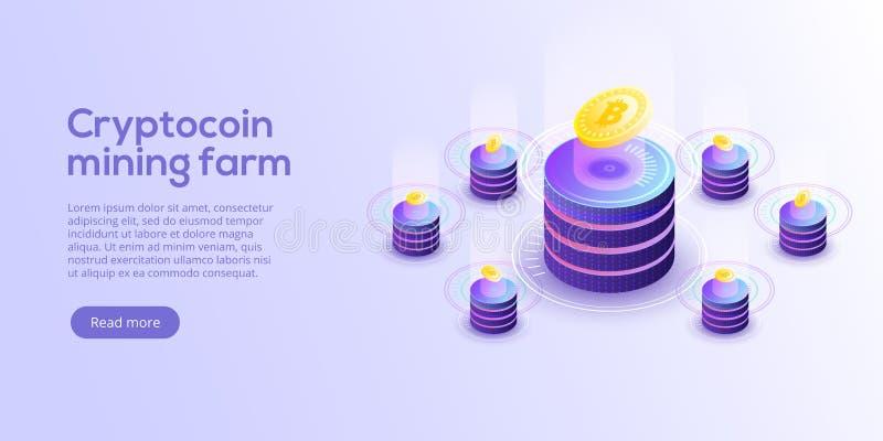 Cryptocoin som bryter lantgårdorienteringen Cryptocurrency och blockchain förtjänar stock illustrationer