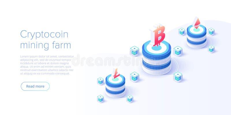 Cryptocoin som bryter lantg?rdorienteringen Cryptocurrency och blockchain knyter kontakt den isometriska vektorillustrationen f?r stock illustrationer