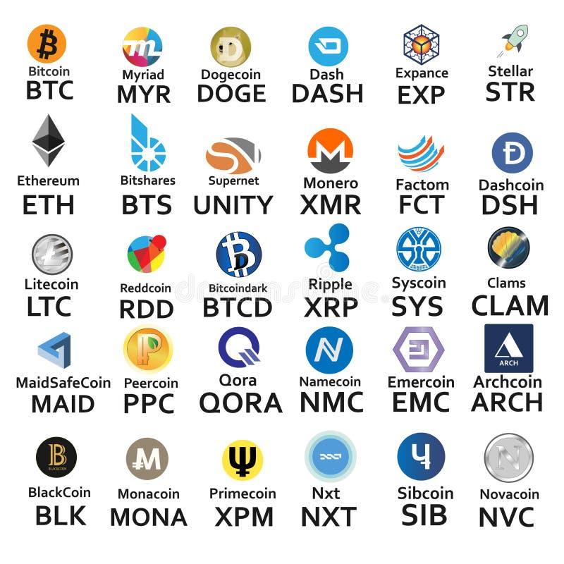 Cryptocurrencies 30 значков бесплатная иллюстрация