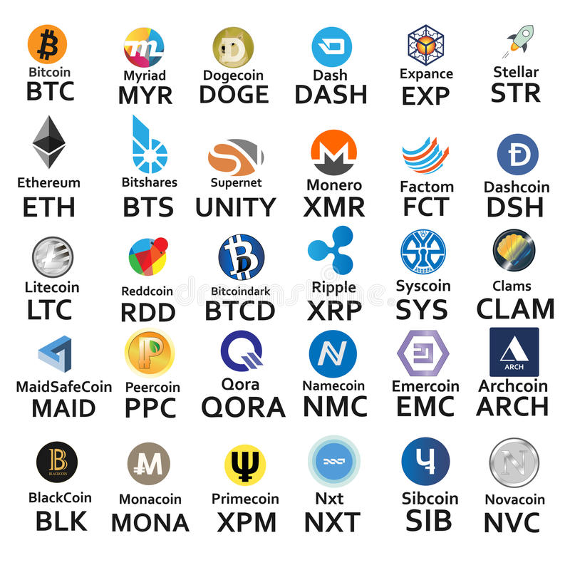 Cryptocurrencies 30个象 皇族释放例证