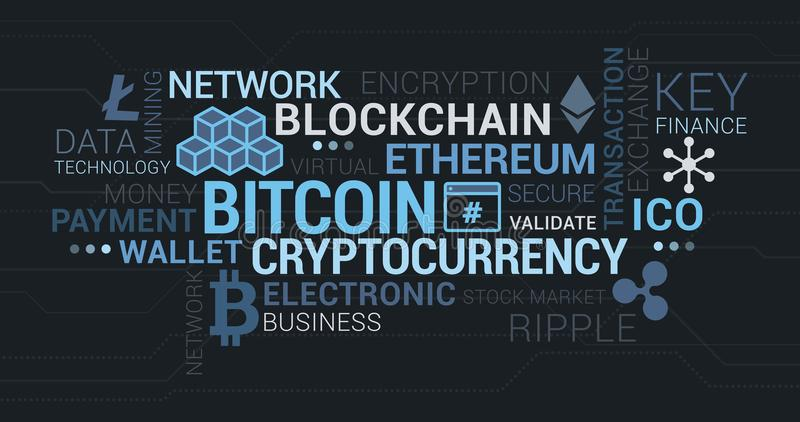 Cryptocurrencies, blockchain and bitcoin tag cloud royalty free illustration