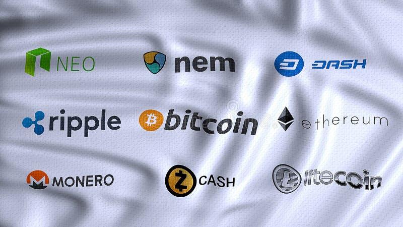Cryptocurrencies, cyfrowych i alternatywnych waluty, używać cryp zdjęcia royalty free