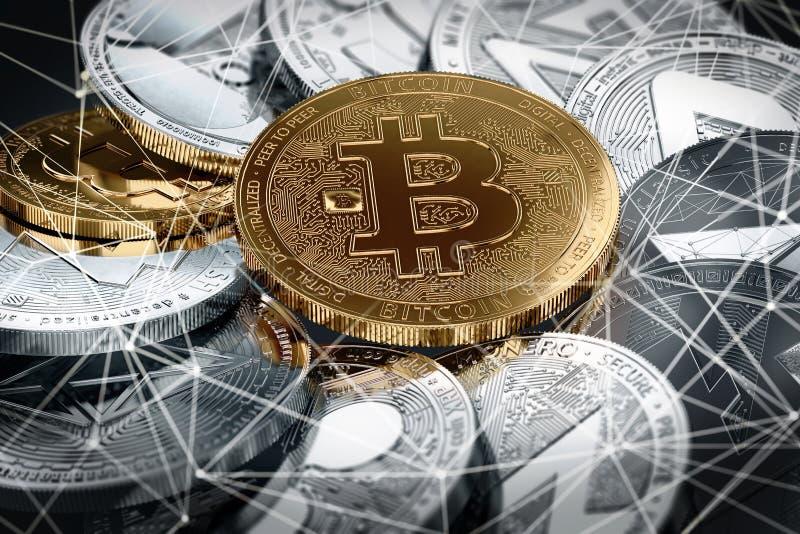 Cryptocurrencies differenti e un bitcoin dorato a fuoco come il cryptocurrency più importante illustrazione di stock