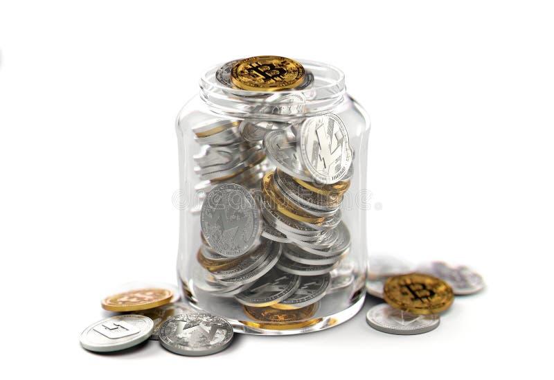 Cryptocurrencies differenti in un barattolo isolato su fondo bianco Concetto di risparmio Rappresentazione realistica 3d illustrazione vettoriale