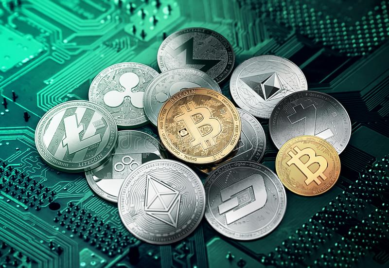 Cryptocurrencies differenti in un cerchio con un bitcoin dorato royalty illustrazione gratis