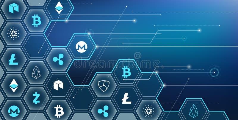 Cryptocurrencies/ejemplo virtuales del blockchain - bitcoin, litecoin, concepto de la ondulación libre illustration