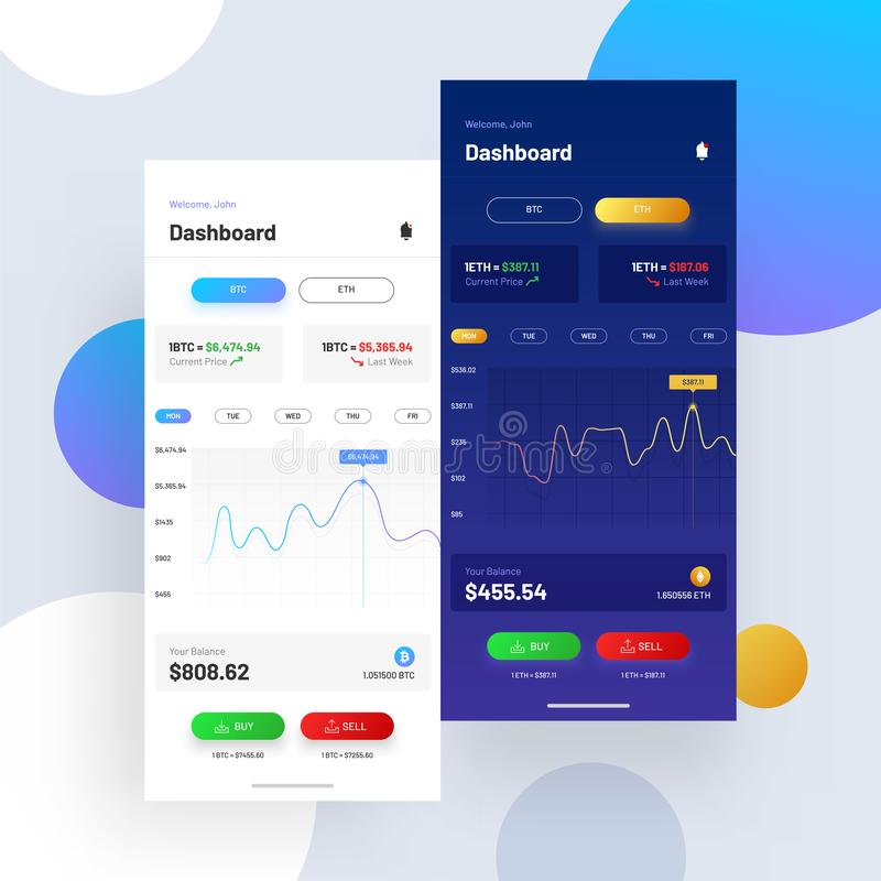 Cryptocurrencies, en uitwisseling UI of UX-concept die voor Mobi handel drijven vector illustratie