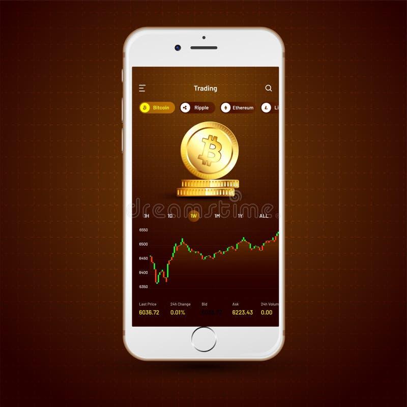 Cryptocurrencies, en uitwisseling UI of UX-concept die voor Mobi handel drijven stock illustratie