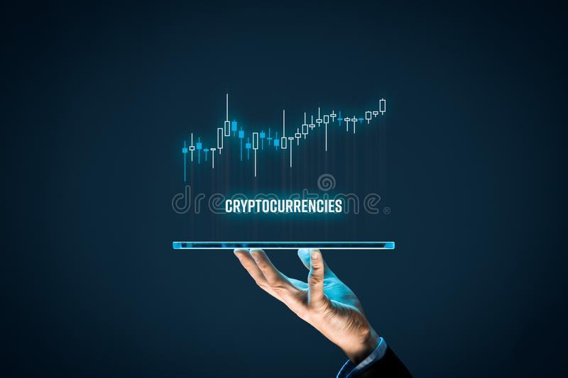 Cryptocurrencies investment stock photography